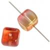 Glass Bead Cubes 8X11mm Orange/Gold/Pink - Strung